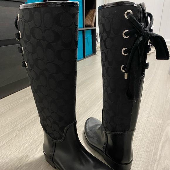 Coach knee high rubber boots